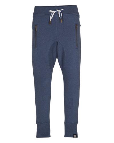 Ashton Straight-Leg Drawstring Sweatpants, Dark Denim, Size 4-12