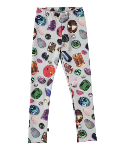 Nilia Gemstone Ponte Leggings, Gray/Multicolor, Size 3-12