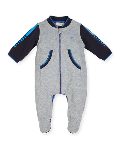 Long-Sleeve Colorblock Footie Pajamas, Gray, Size 3-12 Months