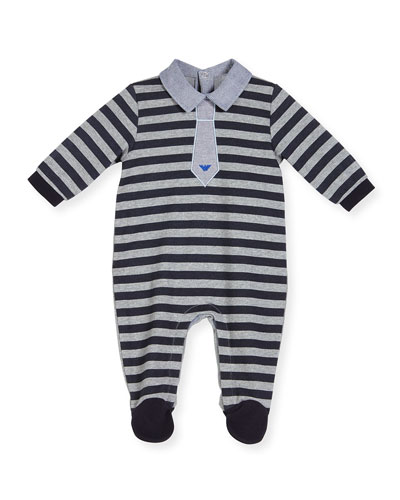 Striped Chambray-Trim Footie Pajamas, Gray/Navy, Size 3-12 Months