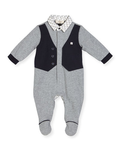 Faux-Vest Cotton Footie Pajamas, Gray, Size 3-12 Months