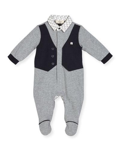 Faux-Vest Cotton Footie Pajamas, Gray, Size 3-12 Months