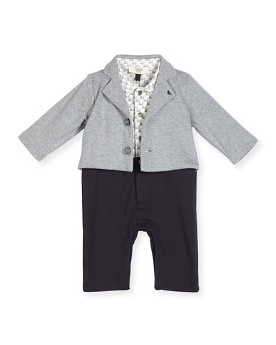 Cotton Illusion Coverall, Gray, Size 3-12 Months