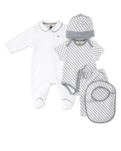 Cotton Five-Piece Layette Set, Gray, Size 3-12 Months