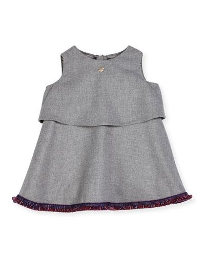 Sleeveless Twill Fringe-Trim Popover Dress, Gray, Size 12M-3