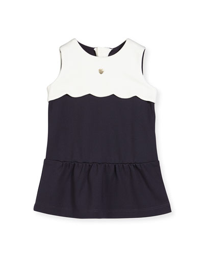 Sleeveless Scalloped-Trim Jersey Dress, Navy, Size 12M-3