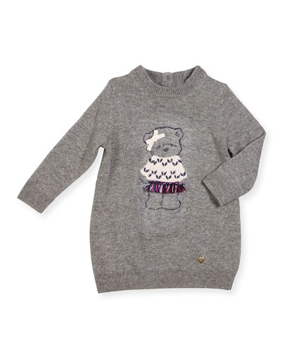 Long-Sleeve Glitter Bear Sweaterdress, Gray, Size 12M-3