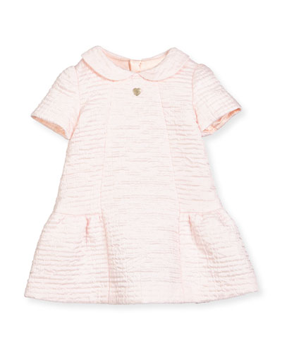 Short-Sleeve Textured Fit-and-Flare Dress, Pink, Size 12M-3