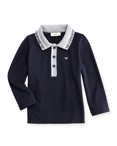Long-Sleeve Stretch Pique Polo Shirt, Navy, Size 12M-3