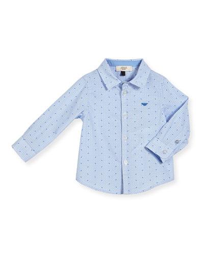 Long-Sleeve Poplin Logo-Print Shirt, Blue, Size 12M-3