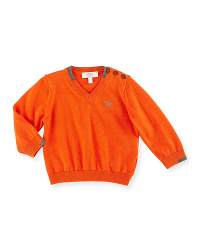 V-Neck Pullover Sweater, Medium Orange, Size 12M-3