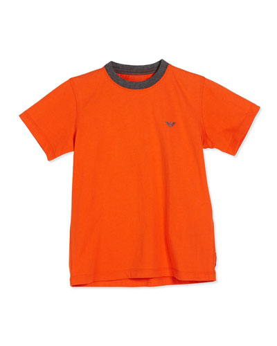Short-Sleeve Basic Cotton Tee, Medium Orange, Size 4-12