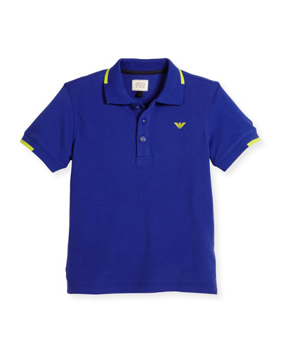 Tipped Pique Polo Shirt, Blue, Size 4-12