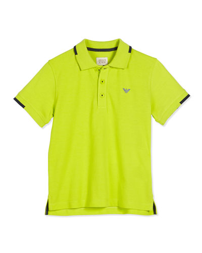 Tipped Three-Button Pique Polo Shirt, Lime, Size 4-12