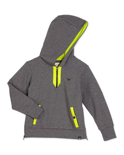 Hooded Half-Zip Contrast-Trim Sweatshirt, Gray, Size 4-12