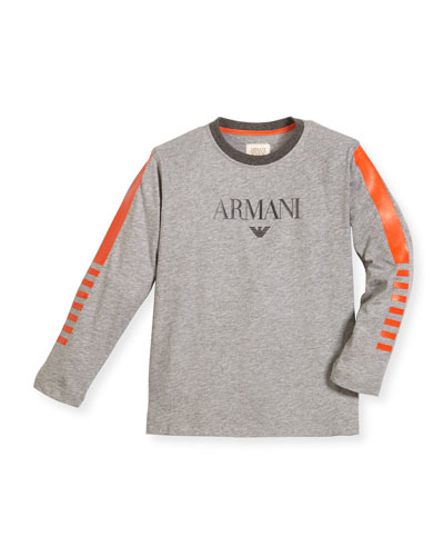 Long-Sleeve Cotton Jersey Logo Tee, Gray, Size 4-12
