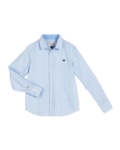 Long-Sleeve Poplin Logo-Print Shirt, Blue, Size 4-12