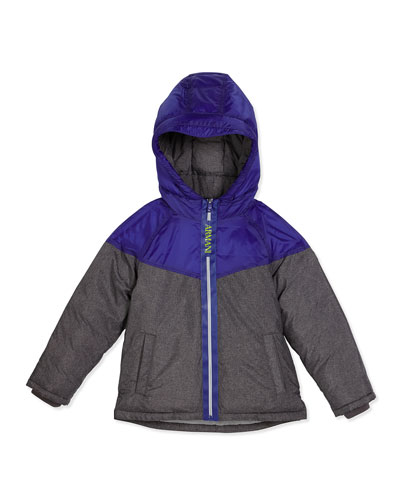 Hooded Two-Tone Puffer Coat, Gray, Size 4-12