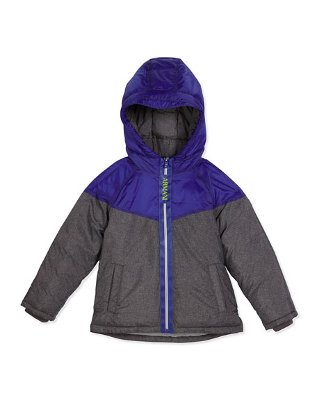 Armani Junior Hooded Two-Tone Puffer Coat, Gray, Size
