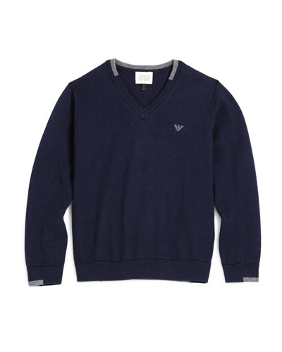 V-Neck Cotton Pullover Sweater, Navy, Size 4-12