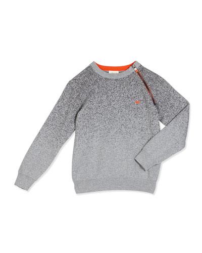 Ombre Melange Raglan Sweater, Gray, Size 4-12