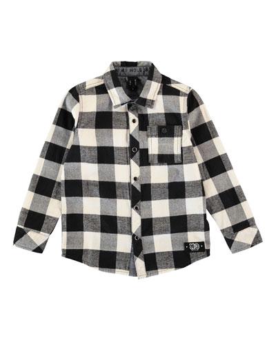 Richie Long-Sleeve Check Shirt, Black/White, Size 3-12
