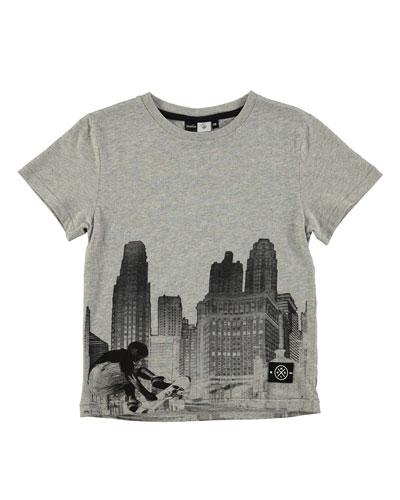 Skyline & Skater Jersey Tee, Gray, Size 4-12