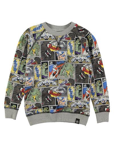 Romeo Cartoon Raglan Sweatshirt, Gray/Multicolor, Size 4-12