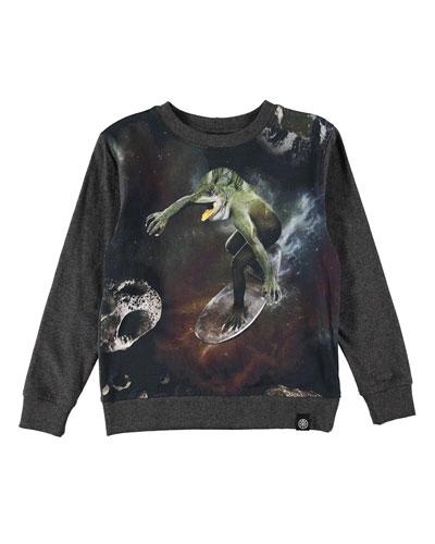 Regin Space Surfer Crewneck Sweatshirt, Charcoal, Size 4-10