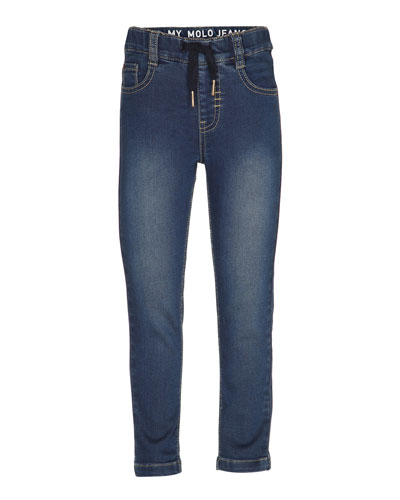 Augustin Skinny Drawstring Jeans, Blue Size 4-8