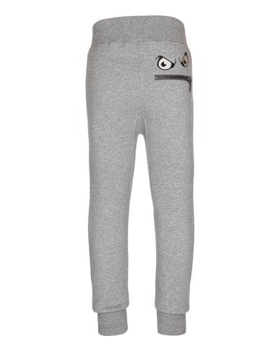 Asher Straight-Leg Zip-Face Sweatpants, Gray Melange, Size 4-12
