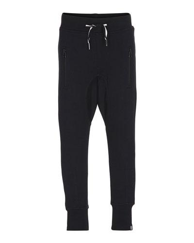 Ashton Straight-Leg Drawstring Sweatpants, Black, Size 4-12