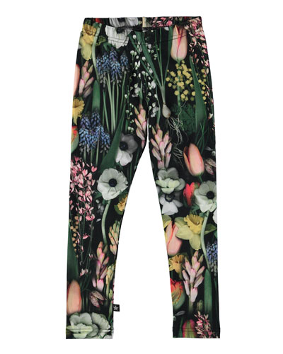 Niki Soft Botanic Stretch Leggings, Green/Multicolor, Size 3-14