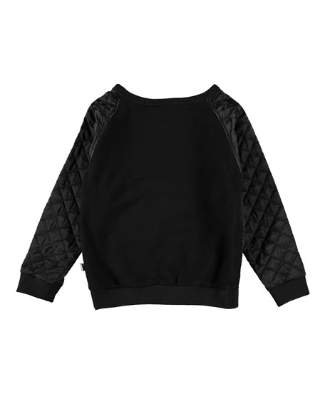 Mulled Quilted Raglan Sweatshirt, Black, Size 4-14