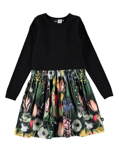 Credence Solid & Floral Dress, Black/Green, Size 2-12