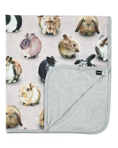 Neala Bunny Dots Blanket, Pink
