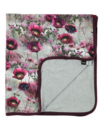 Neala Winter Meadow Blanket, Gray/Pink