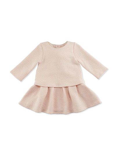 Long-Sleeve Textured Popover Dress, Pale Pink, Size 12-18 Months