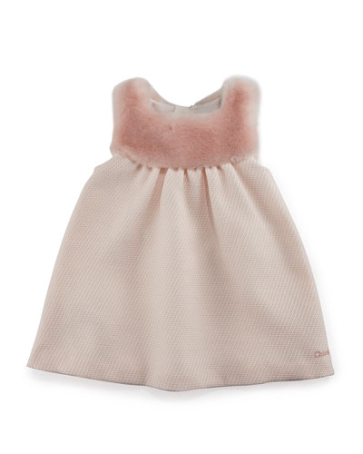 Sleeveless Faux-Fur & Tweed Dress, Pale Pink, Size 2-3