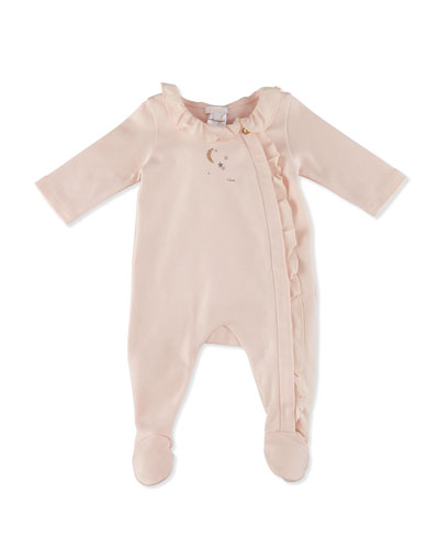 Chic Collared Footie Pajamas, Pale Pink, Size 3-9 Months