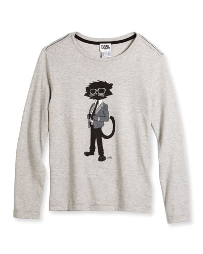 Cool Cat Long-Sleeve Melange Jersey Tee, Medium Gray, Size 6-10