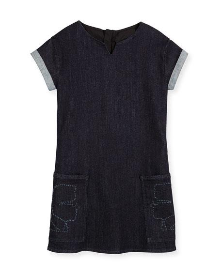 Karl Lagerfeld Cap-Sleeve Stretch Denim Shift Dress, Denim