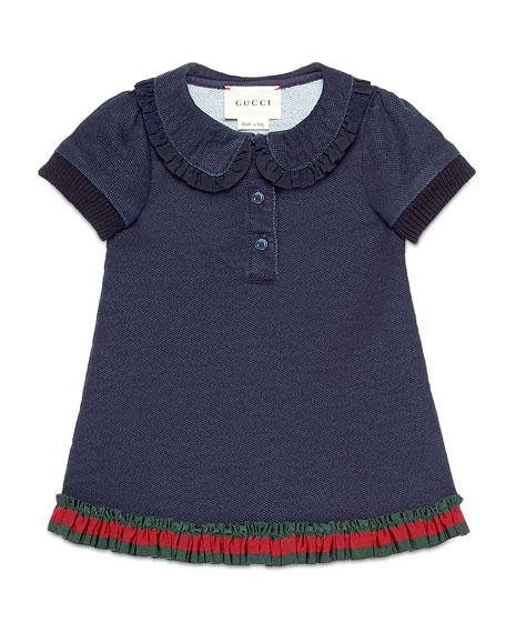 Gucci Denim-Style Pique Polo Dress, Indigo, Size 6-36