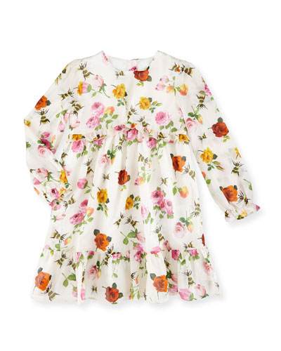 Long-Sleeve Floral & Bee Voile Dress, Ivory, Size 6-36 Months