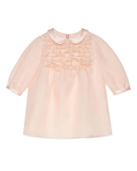 Long-Sleeve Silk Organza Ruffle Dress, Pink, Size 6-36 Months