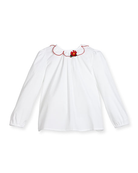 Gucci Long-Sleeve Poplin Ruffle-Trim Blouse, White/Red, Size 6-36