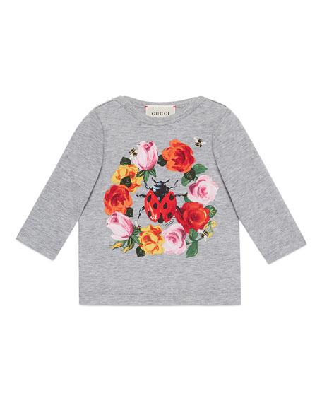 Gucci Long-Sleeve Floral Slub Jersey Tee, Gray, Size