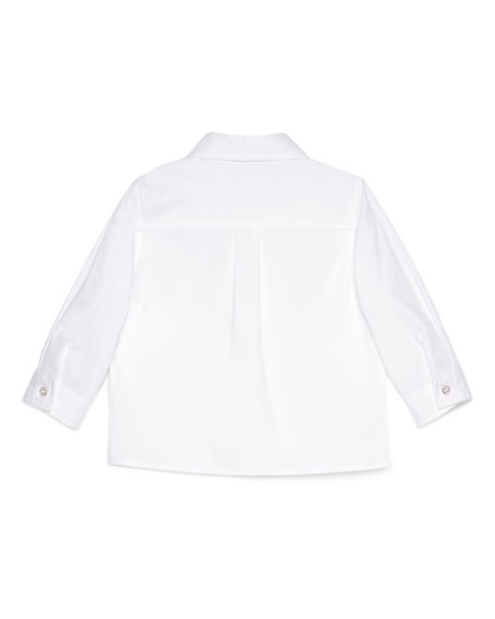 Long-Sleeve Stretch Poplin Sport Shirt, White, Size 6-36 Months