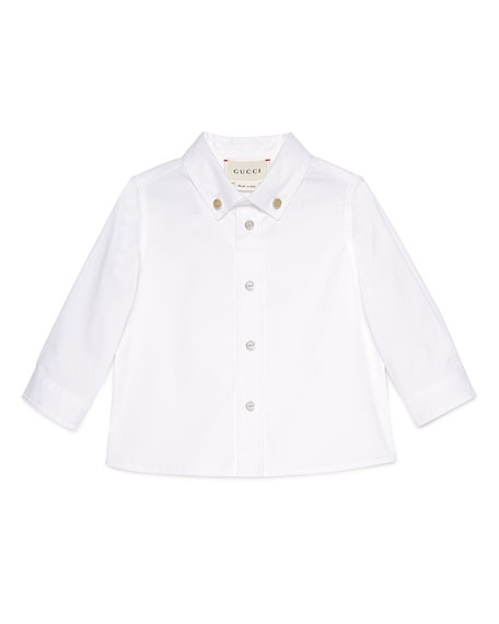 Gucci Long-Sleeve Stretch Poplin Sport Shirt, White, Size