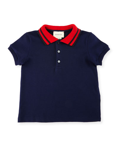 Short-Sleeve Ribbed-Trim Pique Polo Shirt, Size 6-36 Months